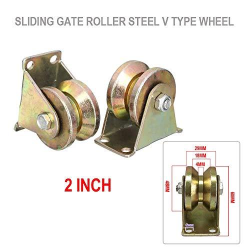 XueQing Pan 2 Stück 299,4 kg 2 Zoll V-Typ-Rad Schiebetor Roller Stahlrad Schienen mit Halterung Rollen Maschinenteile