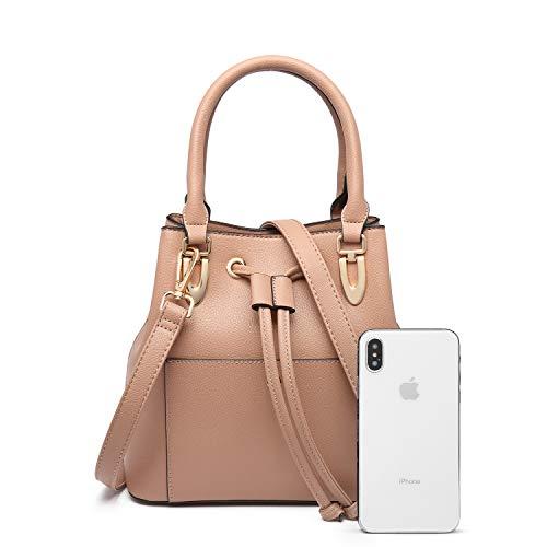LA TERRE Womens Vegan Pebble Leather Drawstring Crossbody Tote Bag w/Detachable Crossbody Strap (Tan)