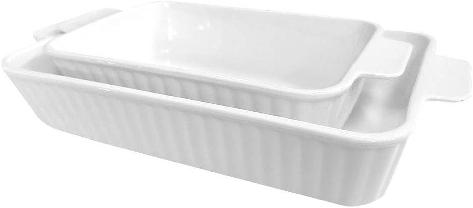ALFEEL Ceramic Baking Dish Bakeware Set of 新色追加 Piece 2 Ba Retangular 2020A W新作送料無料