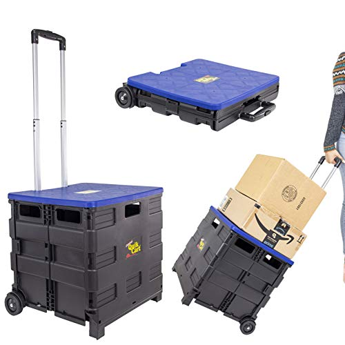 dbest products Quik Cart Collapsible Rolling Crate on Wheels for Teachers Tote Basket, 80 lbs Capacity, Blue Lid Made from Heavy Duty Plastic and Used as a Seat