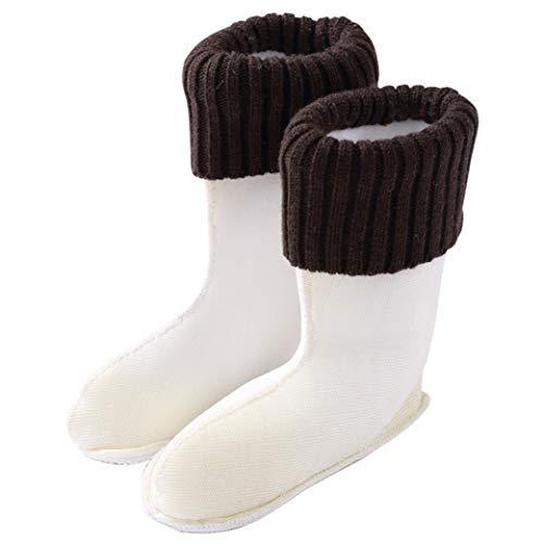 Insun Niño y Niña Calcetines Térmicos para Botas de Agua Marrón Puños de punto Altura 22cm 31 EU