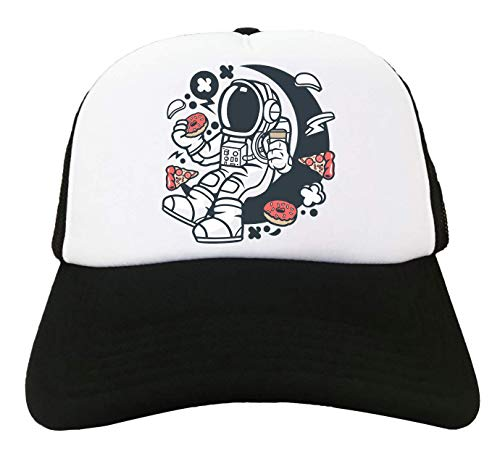 Cartoon Styled Astronaut Eating Munchies Food Love Trucker Baseball Cap One Size