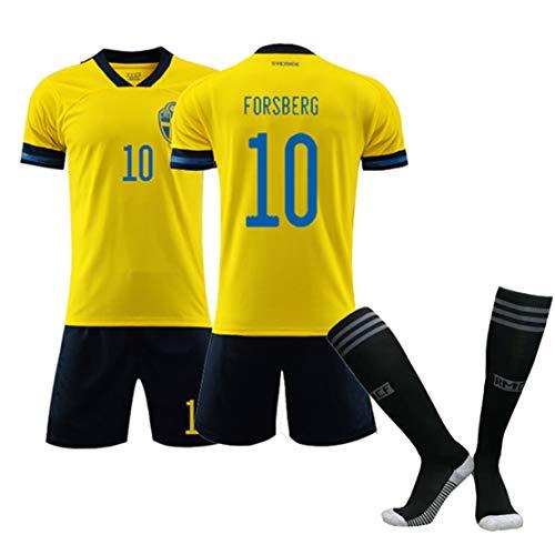 Fußball, Trikot für Erwachsene, Fußball-T-Shirt für Kinder, Europapokal 2020 Schweden 10# Forsberg 10# Ibrahimovic Fußballtrikot, Trainingslager für Fußballbekleidung-FO-26
