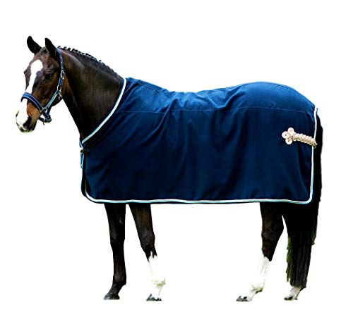 Horseware Rambo Show Rug – Marine with Beige, Baby Blue & Marine 140 cm