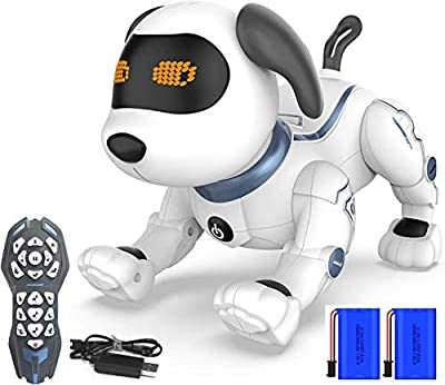 Remote Control Robotic Dog for Kids, HBUDS RC Stunt Programmable Robot Puppy Dog Toys Interactive with Commands Sing, Dance, Barks, Walks Electronic Pet Dog for All Ages Boys and Girls Gifts from HBUDS