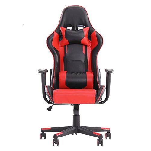 MeillAcc Se adapta al diseño ergonómico, con reposacabezas y soporte lumbar, silla de juegos giratoria de 360 ° (Red3)