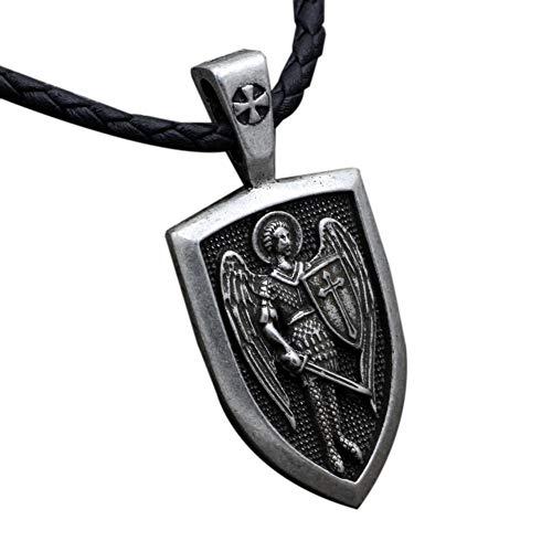 AMOYER Hombres Collar Arcángel San Miguel De época Me Protege Collar Pendiente del Encanto De Saint Protección Escudo