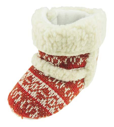 Glamour Girlz Chaussons chauds pour bébé fille garçon Noël rouge blanc (0–3 mois 11)
