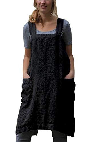 nvIEFE Delantales de cocina de estilo japonés, de algodón y lino, color sólido, con dos bolsillos, color negro, XXL