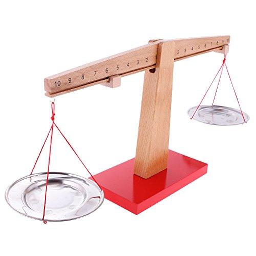 Báscula de Balanza de Madera Montessori Juguete de Aprendizaje de Matemática