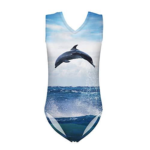 Nopersonality Kinder Mädchen Einteiler Badeanzug süß bedruckt bequemer Badeanzug Bademode Alter 5–14 Gr. 9-10 Jahre, Delfin