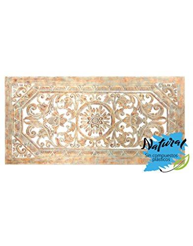Hogar y Mas Retablo Mosaico de Pared o cabecero de Cama. De Madera Tallada Natural y Forma Rectangular 123 x 60 cm