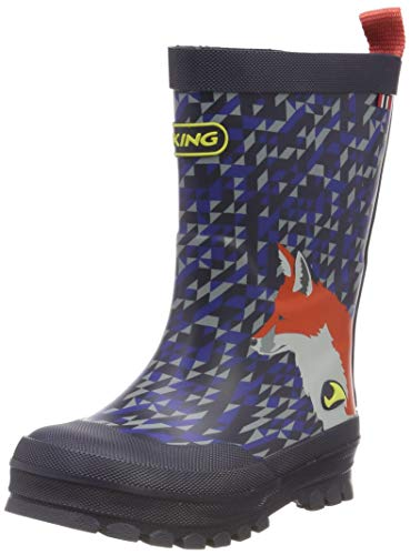 viking Unisex-Kinder Big Fox Gummistiefel, Blau (Navy/Multi 550), 21 EU