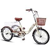 OHHG Triciclo Adultos Bicicleta Crucero Tres Ruedas Principiantes Marco Acero al Carbono Cesta Carga