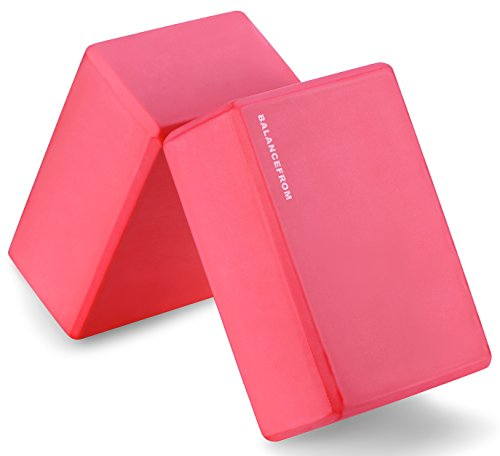 "BalanceFrom GoYoga Set of 2 High Density Yoga Blocks, 9""x6""x4"" Each [Newest Version] (Red)"