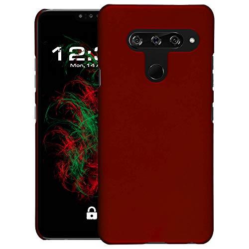 Baluum Hardcase gummierte rote Hülle kompatibel mit LG V40 ThinQ Schutzhülle Hülle Cover Handyhülle Hartschale aus robusten Kunststoff
