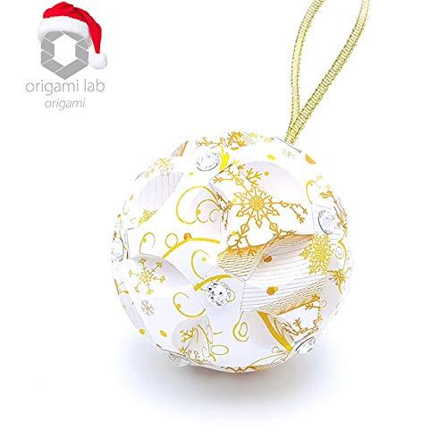 Origami Christmas Sphere con Swarovski Elements - palla di Natale originale - palline di Natale - decorazioni per l'albero - Fatto a mano di carta - Colore Bianco Oro (Diametro 8 cm.)