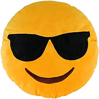 Sealive 36cm Emoji Smiley Emoticon Sunglass Pillow, Yellow Pillows Decorative Smiley Face Round Throw Pillow Gifts for Girlfriend Kids Adults