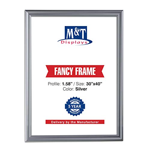 M&T Displays Silver 30x40 Picture Frame Made of 1.58 inches Aluminum Profile Front Loading Wall Mounting Fancy Snap Frame Display for Poster or Document with Mitered Corner