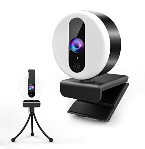 Streaming Webcam with Light, 2K HD Webcam with Microphone for Desktop/Laptop/PC Computer Camera with Tripod and Privacy Cover for Zoom, YouTube, Skype, Video Calling, Conferencing, Online Learning