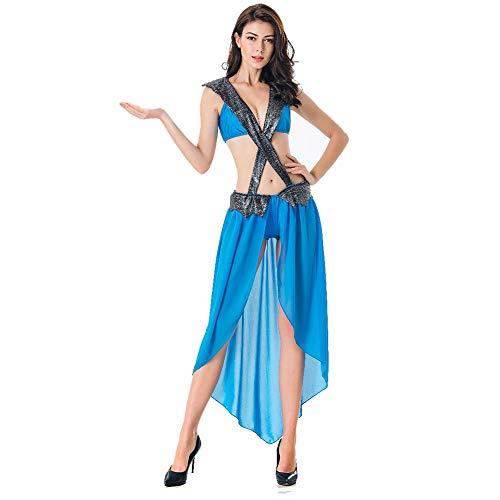 CGBF - Disfraz de mujer de emperatriz romana, diosa griega antigua, color azul, talla única