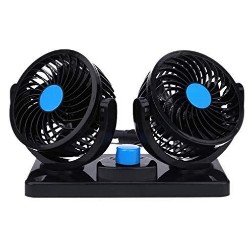 zhibeisai Ventilador de Doble Cabezal de Coches Automotive 12V 360 Grados de rotación del Tablero de Instrumentos de Montaje eléctrico del Ventilador de refrigeración