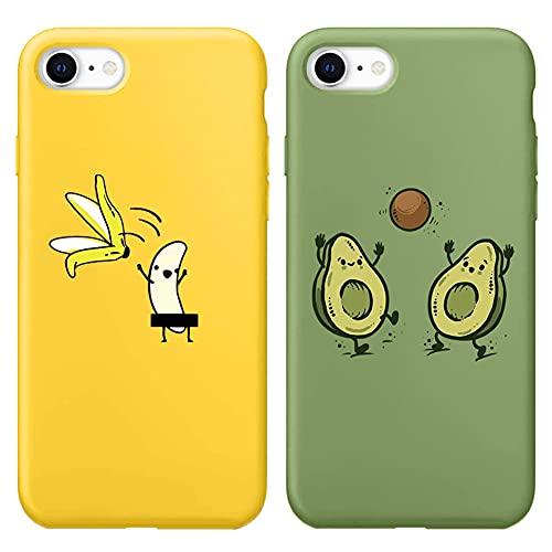 Yoedge für iPhone SE 2020/7 / 8 Hülle (2 Stücke), Silikon TPU Schutzhülle Handyhülle mit Muster Motiv Hülle Superdünn Stoßfest Rückschale Tasche Weiche Cover für iPhone SE 2020/7 / 8, Avocado 1
