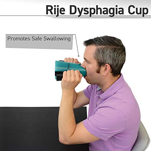 Sammons Preston - 39949 Rije Dysphagia Cup, Extra Large Glass for Controlled Portions Or Sips from Open Cup Or Straw, Stable Grip Cup, Two Handles Provides Secure Grip, Dishwasher Safe