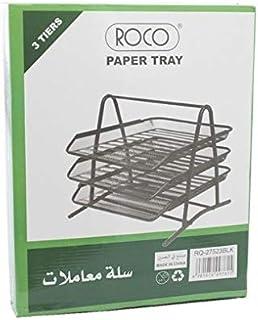 Roco RQ-27523BLK Mesh Design A4 3-Tiers Letter Tray, Black