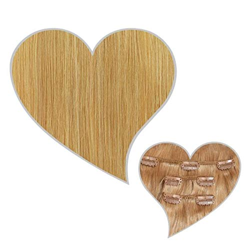 GLOBAL EXTEND® Extensions à clipser Blond moyen #16 50 cm 110 g 100 % cheveux naturels à double couture pour plus de volume Extensions capillaires à épaissir Cheveux naturels