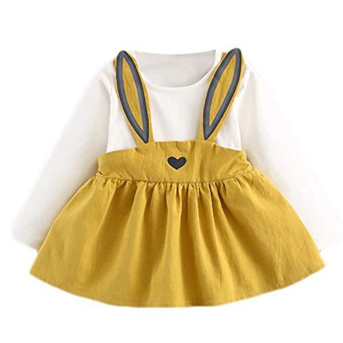 TIFIY Kleid Valentinstag Kleinkind Kinder Baby mädchen Langarm Kaninchen Ohren Kleidung Party Prinzessin Kleider(Blau,2-3Jahre / 13)
