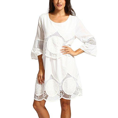 Ansenesna Kleid Damen Boho Sommer Kurz Locker Mini Sommerkleider Spitze Strandkleid Mit 3/4 Ärmeln Weiß (XXXL, Weiss 4)