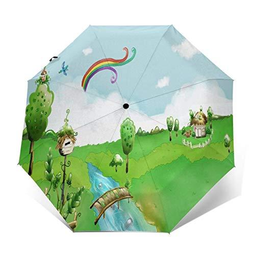 TISAGUER Paraguas automático de Apertura/Cierre,Dibujado a Mano ilustración de Dibujos Animados Lindo,Arco Iris pájaros Volando en el Cielo,casa de Madera,Paraguas pequeño Plegable a Prueba de Viento