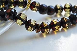 Faceted Handmade Baltic Amber Tespih Cherry Yellow Color Misbaha 33 Beads 12 x 11 mm 32.5 g Handmade Diamond Cut