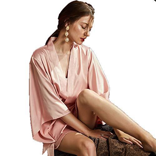 WSAD Les Vêtements De Nuit Femelle Adulte d'un Vêtement avec Glace Sexy Slim Matin Dort Jupe Deux Ensembles,L,Rose
