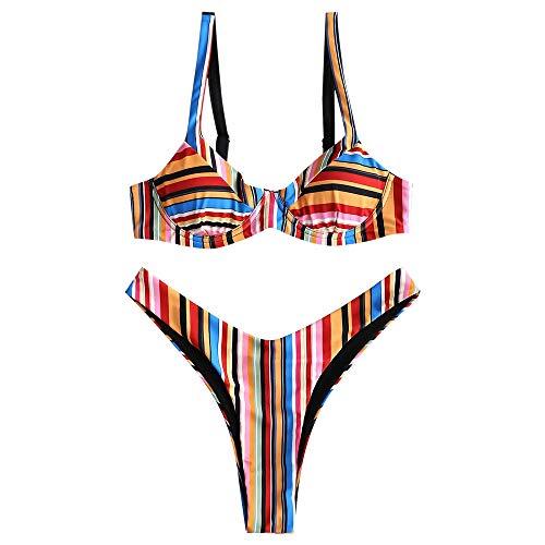 ZAFUL Damen Spaghetti Rippstrick Sexy Regenbogen Stripe Bikini Set (S, Multi-A)