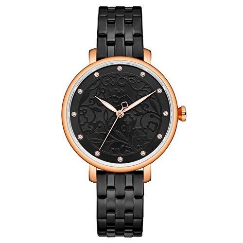 Relojes para mujer, mujer Moda Reloj de pulsera de cuarzo con banda de acero inoxidable y dial de patrones circulares, relojes elegantes de mujer regalos de reloj de pulsera de negocios Para ella