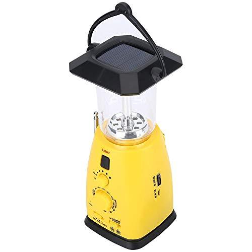 WolfGo Led-campingnoodlantaarn, crank-zonne-energiefakkellamp met oplader voor mobiele telefoon