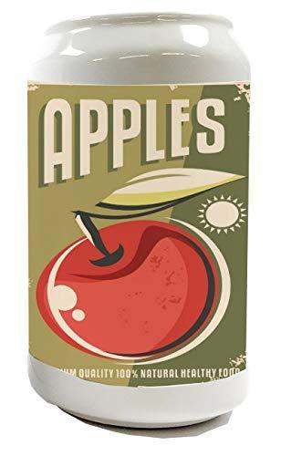 Spardose Sparbüchse Geld-Dose Wiederverschließbar Farbe Weiß Nostalgie Fun Äpfel Keramik Bedruckt