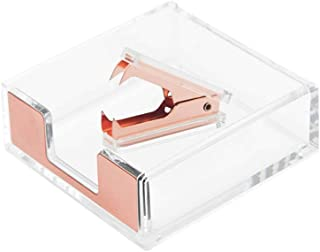 Clear Acrylic Rose Gold Self-Stick Note Cube Holders | Staple Removers Set Desktop Memo Pad Dispenser 3.5x3.3 Inch | Stapl...