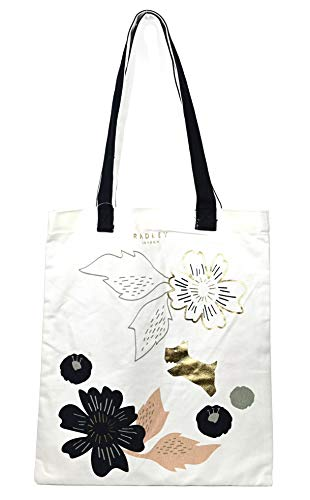 Radley Painterly Floral Canvas tote shopper bag in Cream and Ink Navy Blue