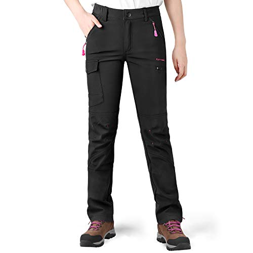 KUTOOK Pantalones Softshell Trekking Mujer con Forro Polar Pantalón Senderismo Montaña Escalada...