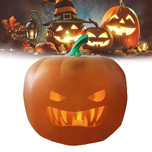 Calabaza Luces con LED Nocturna, Calabaza Lámpara Atmósfera 3 en 1 con Proyector y Altavoz Integrados y Joke para Fiesta Halloween