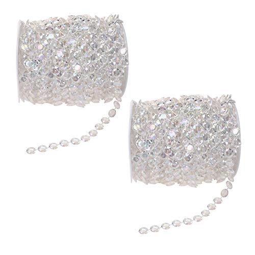 Acrylic Clear Crystal Beads Diamond Garland Strands Rhinestone by Roll for DIY Doorway Beads String Curtain, Wedding, Birthday Party Decorations, Arts and Crafts Projects (2 Pack of 99 Ft/33 Yards)