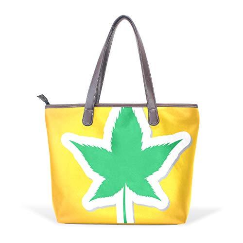 DEZIRO - Bolso de mano con diseño de hojas de marihuana, color, talla Large