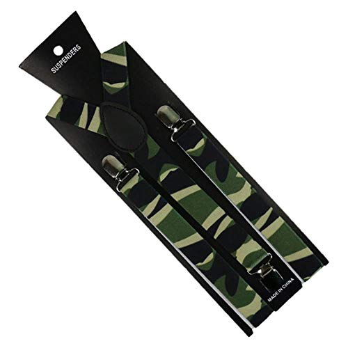 JJZZ Hosenträger Mode 1 Zoll breit Armee grün Männer Frauen Unisex Clip-on Camouflage Hosenträger elastische Hosenträger Camo, dunkelgrau