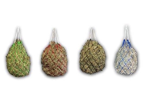 Red de heno para caballos, para una alimentación adecuada a las especies, mejora la digestión y el bienestar de los animales, heno y hierba, alimento de paja (azul)