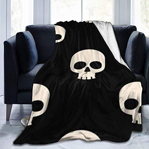 White Skull Home - Manta Ultra Suave para Cama Forro Polar de Franela para Todas Las Estaciones Peso Ligero Sala de Estar/Coche/Viaje Manta c¨¢LIDA para ni?os Adultos 60 'x 50'