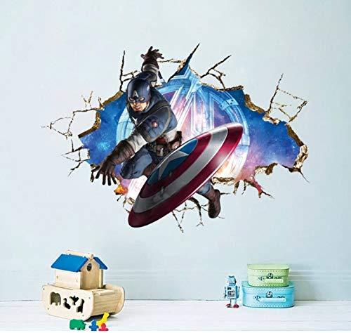 Héroe de maravilla Capitan America Pegatinas de pared extraíbles Calcomanía Niños Casa Decoración Cuarto del bebé Niños niñas Guardería