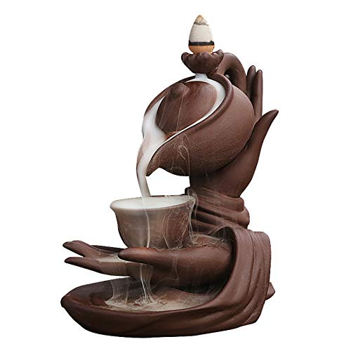 OIUT Ceramic Backflow Incense Holder Incense Burner, Buddha's Hand Incense Holder Handcrafted Porcelain Censer Desktop Decorative Craftwork for Office Shops Aromatherapy Ornament Home Decor